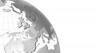 Stock Video Footage of Clean Earth globe with transparent oceans. Zoom to Europe.