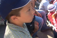 Young boy focused in anticipation Stock Footage