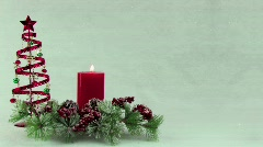Christmas centerpiece with candle pine and decorations Stock Footage