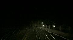Mixed Precipitation from inside car at night Stock Footage