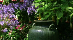 Fountain in Garden with flowers - stock footage
