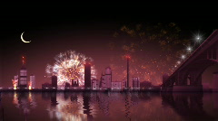 City fireworks 2 - stock footage