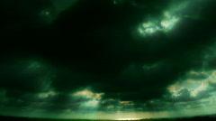 VJ Loop 163 : Sunset Cloudscape Green Stock Footage