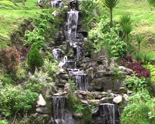 Ornamental waterfall in a garden in the Ecuadorian Andes Stock Footage
