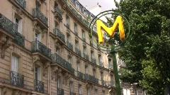 Paris metro sign 2 Stock Footage