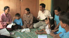Cambodia: Group Bible Study Stock Footage