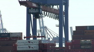 Stock Video Footage of Unloading container ship