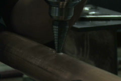 Drilling in Pipe, Close Up Stock Footage