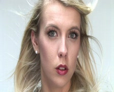 HD1080i Cute young blond woman very sexy sent air kiss Stock Footage