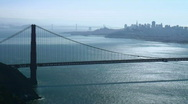 San Francisco and Golden Gate Bridge silhouette Stock Footage