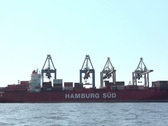 Stock Video Footage of Freight ship at Hamburg harbour