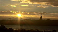 Sunrise above the bridge HD timelapse Stock Footage