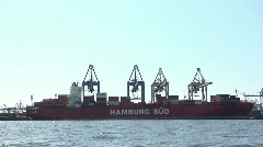 Freight ship at Hamburg harbour Stock Footage