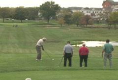 Golfer Tees Off 4 Stock Footage