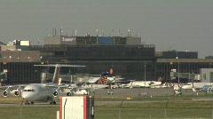 Plane approaching runway Stock Footage