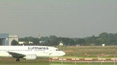 Lufthansa plane approaching runway Stock Footage