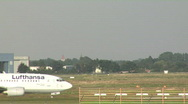 Stock Video Footage of Lufthansa plane approaching runway