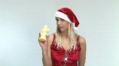 HD1080i Sexy x-mas girl eating white chocolate Santa Claus Stock Footage
