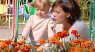 Mother with little girls 009 Stock Footage