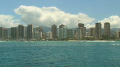Honolulu Skyline and Waikiki Beach from boat on the Island of Oahu, Hawaii Stock Footage