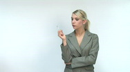 HD1080i Young blond business woman smoking a cigarette Stock Footage
