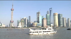 Skyline of Shanghai's economic hub - stock footage