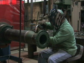 Man Welding in Factory 1 Stock Footage
