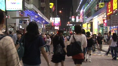 Hong Kong shopping street crowds Stock Footage