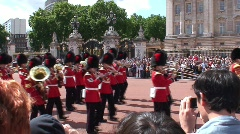 Marching Guards Band at Buckingham Palace Stock Footage