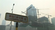 Stock Video Footage of construction site in polluted beijing,  china