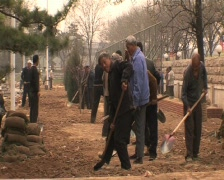 Construction workers in Beijing. Migrant workers in beijing china. - stock footage