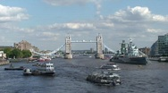 Thames River Boats Tower Bridge London Stock Footage