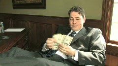 Rich Guy Counts Money 1 Stock Footage