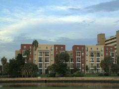 Condos to City Skyline Pan - stock footage
