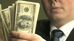 Rich Guy Counts Money 5  Stock Footage