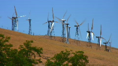 Wind turbines in a field Stock Footage