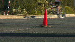 Tour de Tucson Cyclists racing and making a right turn. Stock Footage