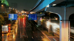 Tokyo bridge crossing at night Stock Footage