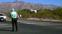 Tour de Tucson Traffic control during a bicycle race. - stock footage