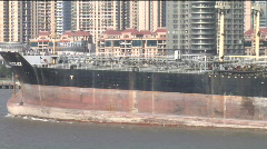 Close up of large oil tanker in Shanghai Stock Footage