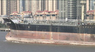 Stock Video Footage of Close up of large oil tanker in Shanghai
