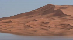 Erg Chebbi Dunes Reflected in Oasis Sahara Stock Footage