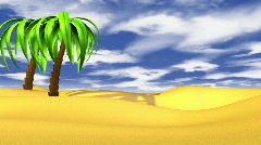 Island with Growing Palms - Motion Graphic 38 (HD) Stock Footage