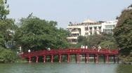 Vietnamese red bridge Stock Footage
