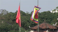 Vietnamese flag & temple Stock Footage