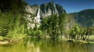 Stock Video Footage of Yosemite falls reflection in pristine pond