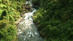 Aerial view of river and waterfall - stock footage
