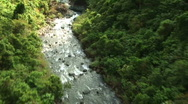 Stock Video Footage of Aerial view of river and waterfall