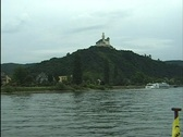 Old castle on hill. river Stock Footage