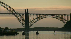 Zoom out of Newport Bay Bridge Stock Footage